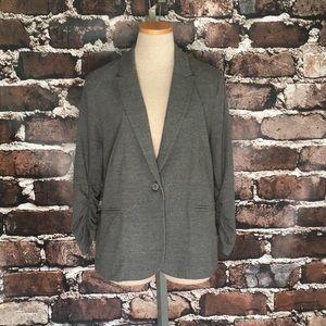 Olivia Moon knit blazer jacket gray 3/4 sleeve L